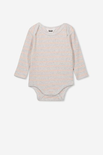 Newborn Long Sleeve Bubbysuit, MAX STRIPE SOFT GREY MARLE/PEACH