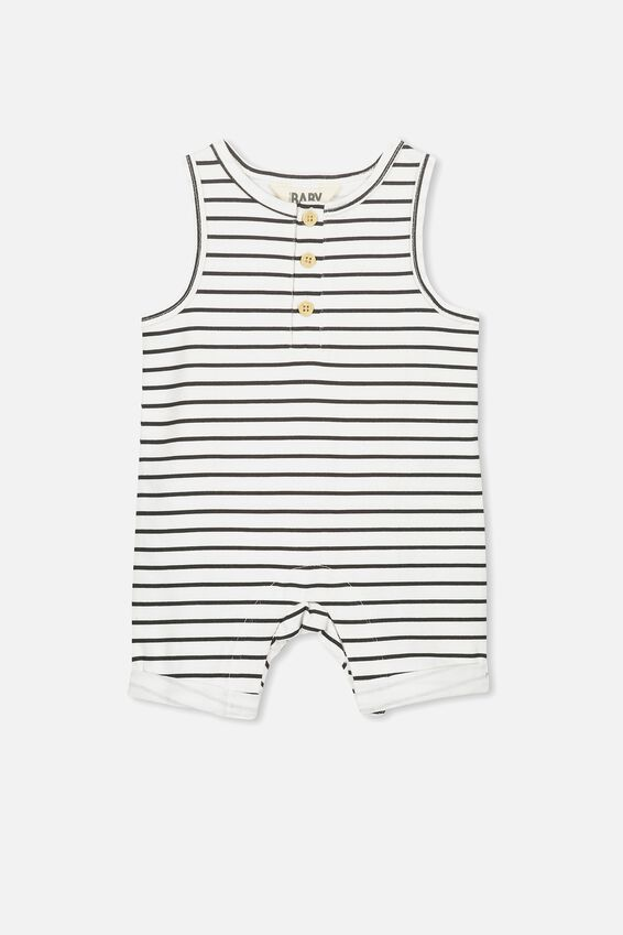 Matthew Short Leg Jumpsuit, VANILLA/BLACK STRIPE