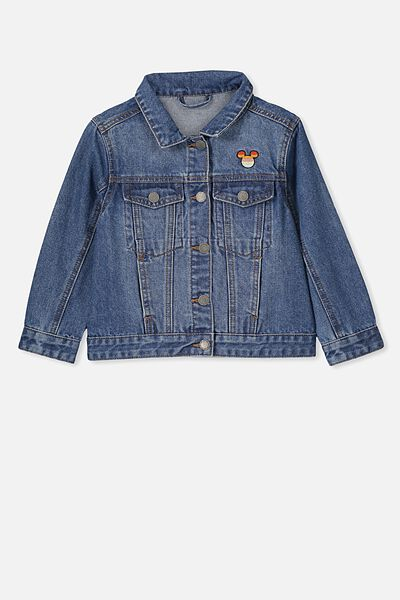 Lux Daisy Denim Jacket, LCN BLUE WASH/MICKEY RAINBOW