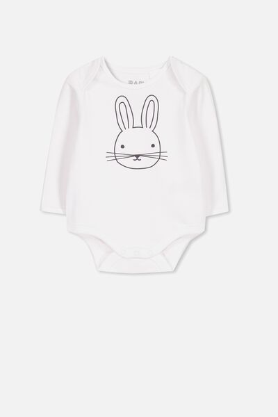 Mini Long Sleeve Bubby, WHITE/EASTER BUNNY