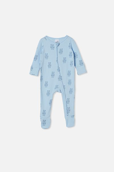 Organic Newborn Zip Through Romper, WHITE WATER BLUE/FOREST BEARS
