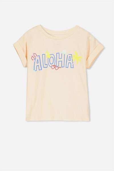 Penelope Short Sleeve Roll Up Tee, FIZZY PINK/ALOHA
