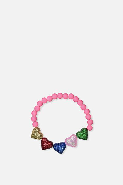 Glitter Charm Bracelet, RAINBOW/HEART