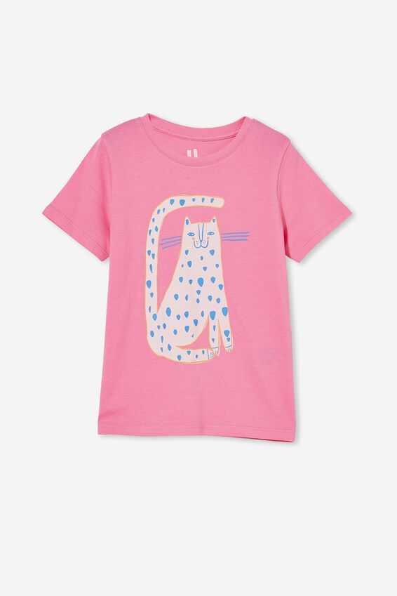 Penelope Short Sleeve Tee, PINK PUNCH/ QUIRKY CAT