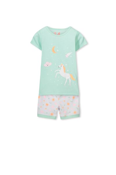 Chloe Short Sleeve Girls Pj Set, STARS & UNICORNS
