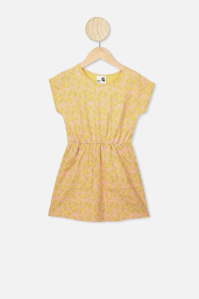 Sigrid Short Sleeve Dress, CORN SILK/SPRIGGY FLORAL