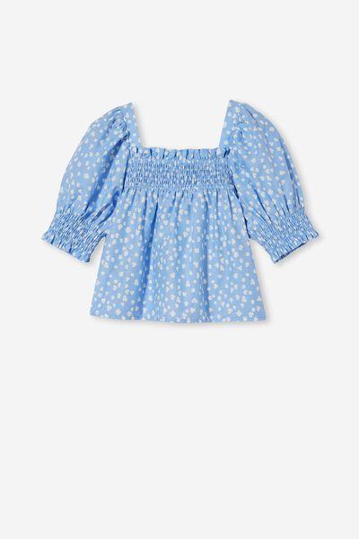 Sophie Short Sleeve Top, DUSK BLUE/AIREYS FLORAL