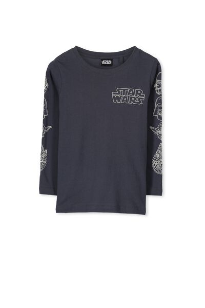 Boys Star Wars Long Sleeve Tee, GRAPHITE GREY/STAR WARS LOGO