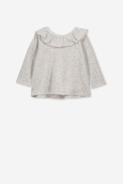Alice Velour Ruffle Neck Top, CLOUD MARLE