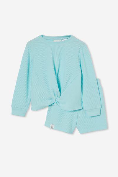 Abbie Knotted Front Long Sleeve Pyjama Set, DREAM BLUE MARLE