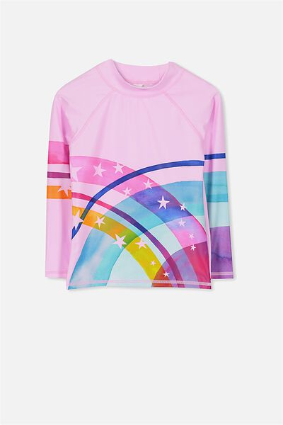 Hamilton Long Sleeve Rash Vest, PINK LADY/RAINBOW WITH STARS