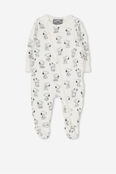 License Zip Through Romper, VANILLA/LCN SNOOPY