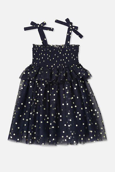 Iris Tulle Dress, INK/GOLD SPOT