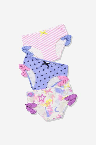 Girls Ruffle Undie Pack, GRAFFITI MIX