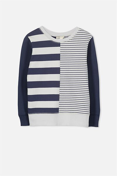 Lachy Crew Jumper, LUNA ROCK/WASHED NAVY MIXED STRIPE YD