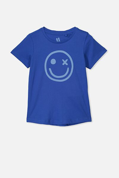 Max Curved Hem Short Sleeve Tee, SCUBA BLUE SMILEY