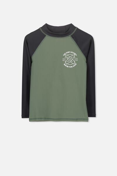 Fraser Long Sleeve Rash Vest, WINTER GREEN/PHANTOM SLEEVE