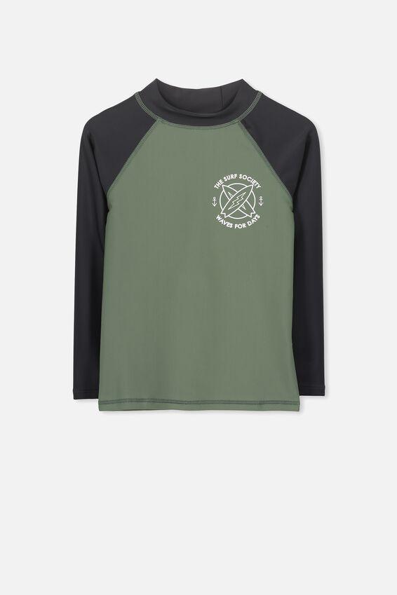 Fraser Long Sleeve Rash Vest, WINTER GREEN/PHANTOM SLEEVE