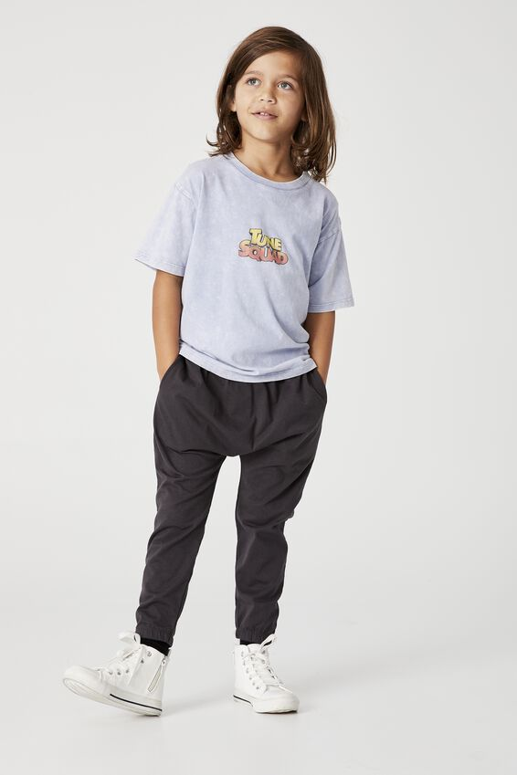 Space Jam Drop Shoulder Short Sleeve Tee, LCN WB DUSTY BLUE / TUNE SQUAD CHARACTERS