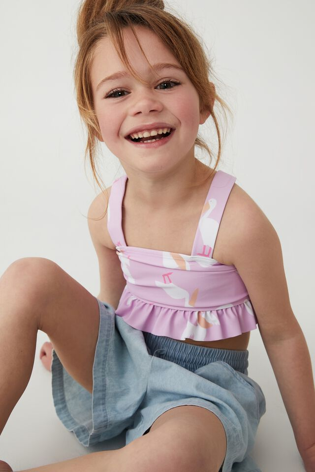 Polly Ruffle Tankini, PALE VIOLET/PELICANS