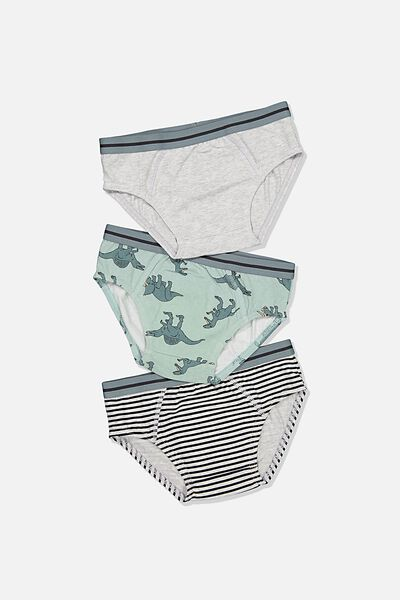 Boys 3Pk Brief, ETHER/CLOUD MARLE DINO YARDAGE
