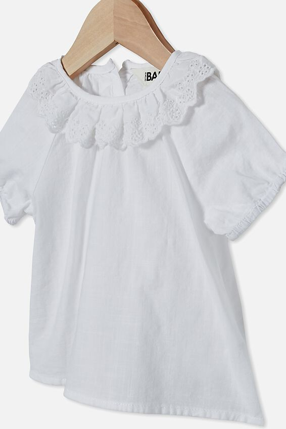 Tammy Ruffle Neck Top, WHITE
