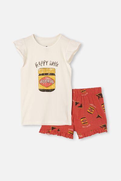 Stacey Flutter Short Sleeve Pyjama Set Licensed, LCN VEGEMITE/VANILLA