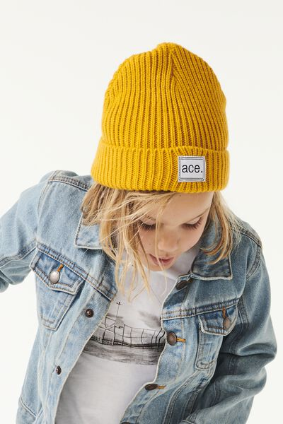 Winter Knit Beanie, GOLDEN/RIB