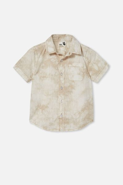 Resort Short Sleeve Shirt, SEMOLINA/TIE DYE