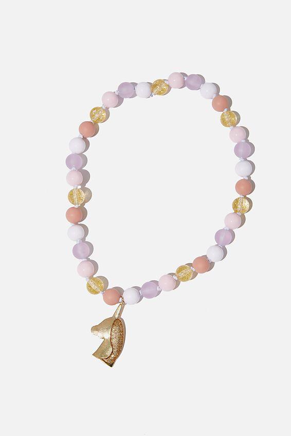 Mixed Beaded Necklace, BLUSH UNICORN