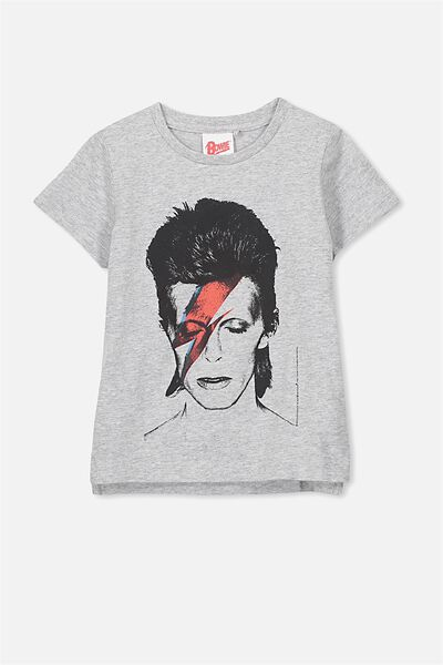 Short Sleeve License Tee, LT GREY MARLE/BOWIE FACE