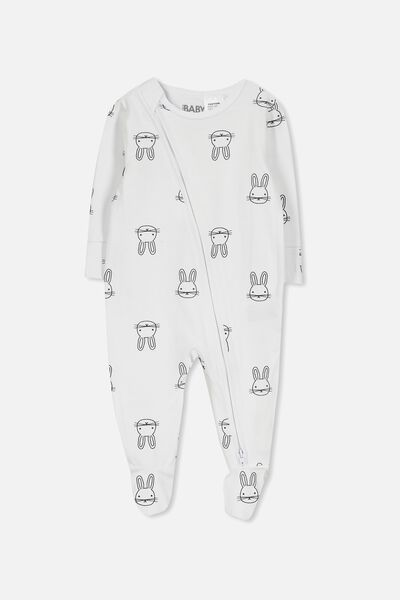 Mini Zip Through Romper, WHITE/EASTER BUNNY