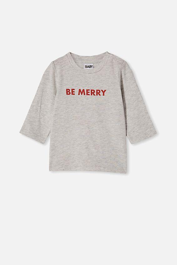 Jamie Long Sleeve Tee, CLOUD MARLE/BE MERRY