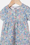 Milly Short Sleeve Dress, DARK VANILLA/DUSK BLUE ANNIE FLORAL