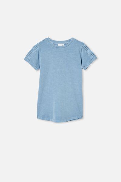 The Cruz Short Sleeve Long Line Tee, DUSTY BLUE