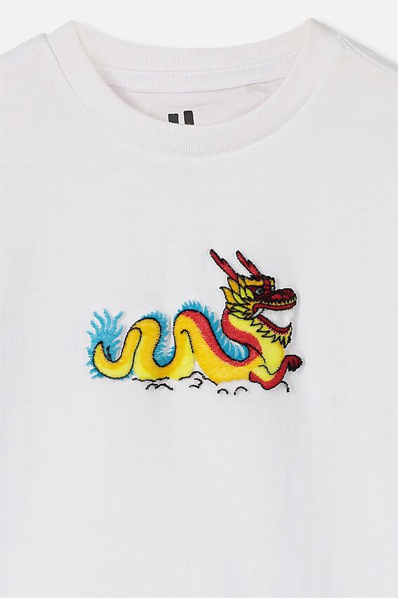 The Downtown Short Sleeve Tee, WHITE DRAGON
