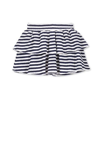 Amanda Shirred Skirt, VANILLA/PEACOAT STRIPE