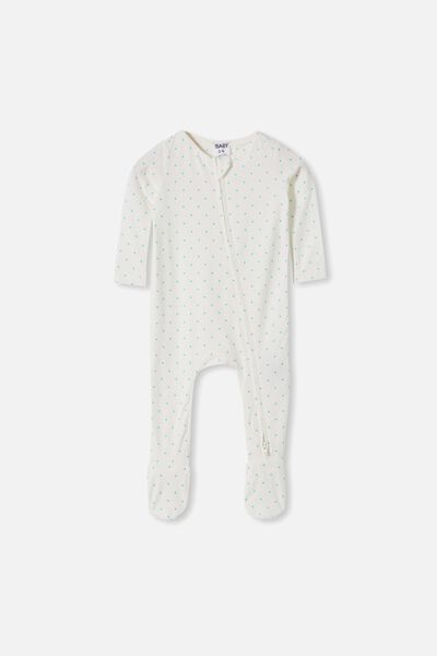 The Snug Long Sleeve Zip Romper, JOY SPOT VANILLA/APPLE CRISP