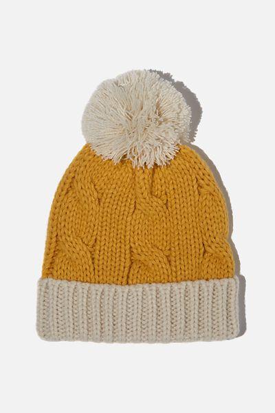Baby Winter Knit Beanie, HONEY GOLD / VANILLA