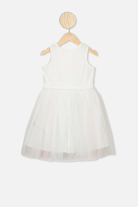 Iris Tulle Dress, VANILLA/RAINBOW HORIZON
