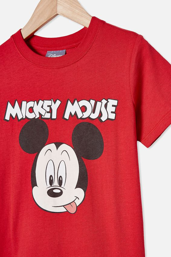 Short Sleeve License1 Tee, LCN DIS LUCKY RED/MICKEY MOUSE FACE