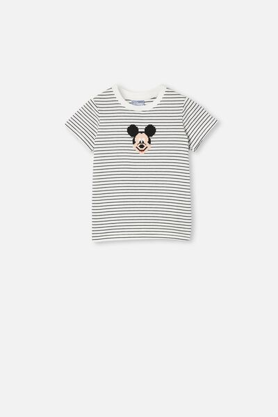 Short Sleeve License1 Tee, LCN DIS MICKEY STRIPE STACKED