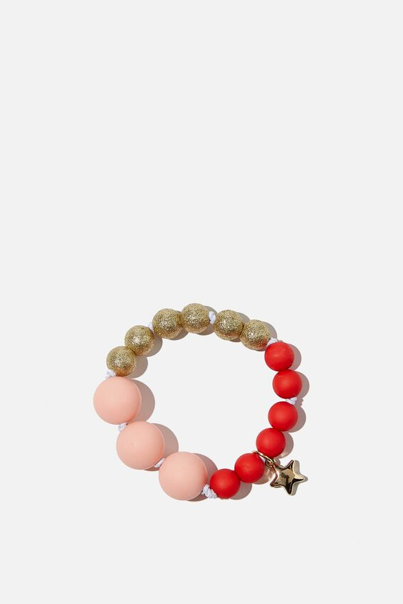 Mixed Beaded Bracelet With Metal Charm, JOLLY RED & PINK
