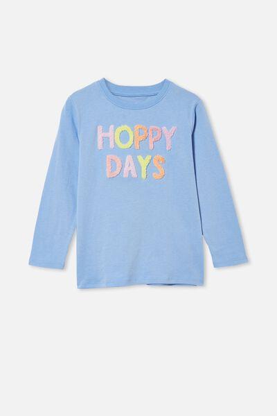 Stevie Long Sleeve Embellished Tee, DUSK BLUE/ HOPPY DAYS