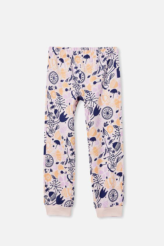 Edith Long Sleeve Pyjama Set, FLORAL BEES/CRYSTAL PINK