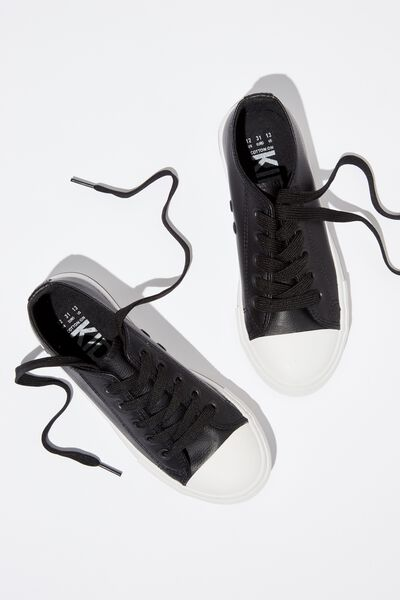 Classic Trainer Lace Up, BLACK SMOOTH