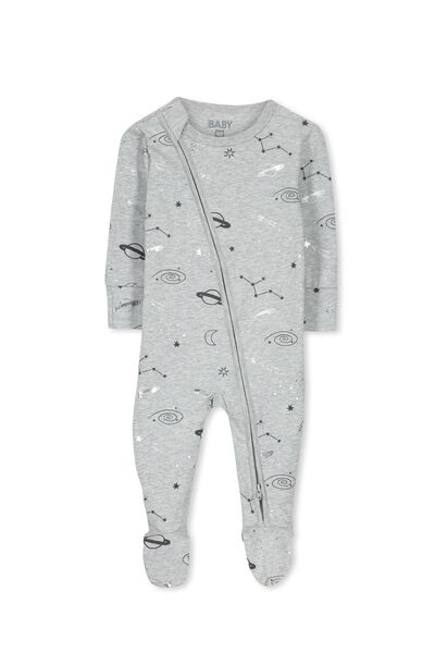 Mini Zip Through Romper, LIGHT GREY MARLE/GALAXY