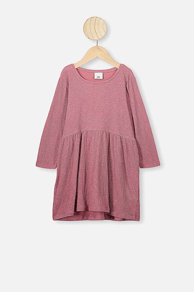 Freya Long Sleeve Dress, VERY BERRY TEXTURE