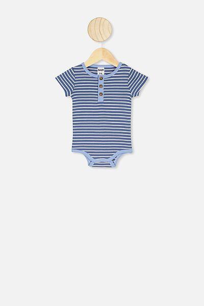 The Short Sleeve Placket Bubbysuit, ASH STRIPE/ STONE GREEN