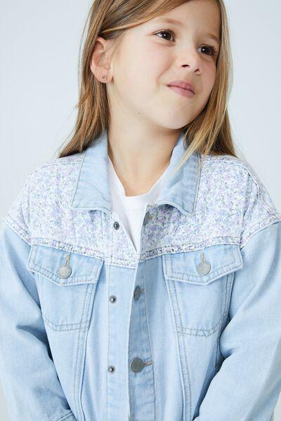Emmy Oversized Denim Jacket, BLEACH WASH/CONTRAST FLORAL